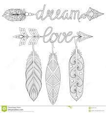 Bohemian Dream Love Arrows Set Feathersult Coloring Pages Art
