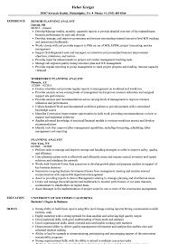 Planning Analyst Resume Samples Velvet Jobs