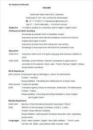 American Resume Format Format North American Professional Format