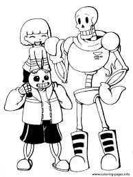 Print Undertale Trio Frisk Sans And Papyrus By Chiherah Coloring