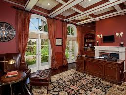 red home office. Crimson Walls And Coffered Ceiling Steal The Show In This Transitional Home Office [Design: Red O