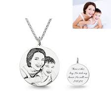 picture of personalized photo engraved necklace in 925 sterling silver