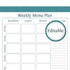 Blank Weekly Menu Template Printable Weekly Menu Planner Template