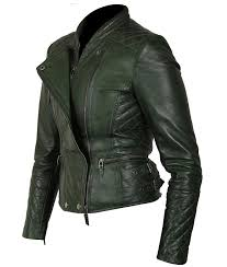 womens quilted green motorcycle leather jacket