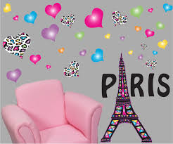 paris wall decals paris wall stickers theme with eiffel tower wall decals with 30 multicolored and leopard print heart wall stickers