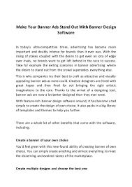 Ezine Design Software Make Your Banner Ads Stand Out With Banner Design Software