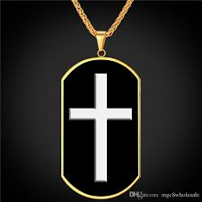 whole u7 enamel dog tag cross pendant necklace fashion gold plated stainless steel rope chain for men women cross jewelry gifts p2359