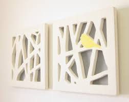 Yellow Bird Wall Art Set, Yellow and Gray Wall Art. $95.00, via  EclipsedbyNature