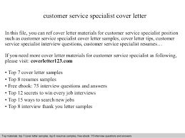 Customer Service Specialist Cover Letter Project For Awesome