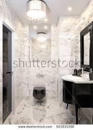 modern art furniture. Modern Art Deco Bathroom Interior Design With Gray And White Marble Tiles, Black Furniture