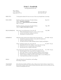 Resume Examples Elementary Student Teaching Resume Template For