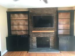 stone fireplace with built ins custom ledge spring city pa