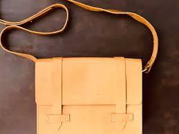 handmade leather bag work