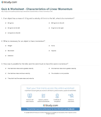 print linear momentum definition equation and examples worksheet