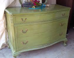 green painted furniture. DRESSER Vintage Cottage Low Boy / Bow Front Wood Chest Of Drawers And Mirror /Poppy Green Painted Furniture