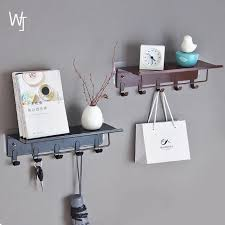 vintage wrought iron shelf bathroom free punching wall hanging with hook storage rack storage shelves