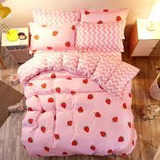 clothing bed 4 sets duvet cover set summer cartoon simple stripe quilt lattice linen pink sheets pillows decorative c