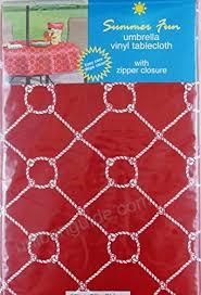 nautical rope with zipper umbrella hole vinyl flannel back tablecloth red 70 round b07b644kjj