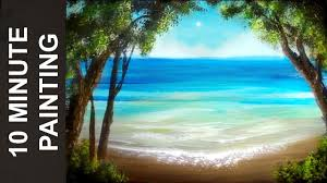 painting a summer beach landscape with acrylics in 10 minutes