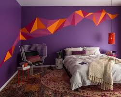 Inspiration for a mid-sized carpeted bedroom remodel in Melbourne with  purple walls