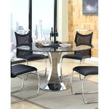 round natural black marble dining table with chrome pedestal pertaining to black marble dining table idea