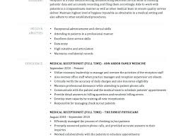 Office Receptionist Resume Medical Receptionist Resume Template For Beauteous Spa Receptionist Resume