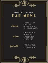 Formal Dinner Menu Template Unique Black Gold Great Gatsby Bar Menu Templates By Canva