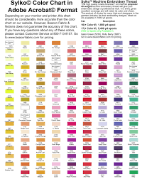 Coats Epic Thread Color Chart Pantone Thread Conversion Online Charts Collection
