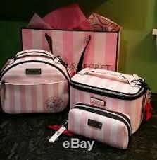 victoria s secret 3pc trio pink stripe paris 2016 train case set make up bag