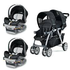stroller for two together double stroller with two infant car seats in black fabric with stroller