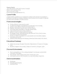 Professional Strengths Resume Resume Sample For Fresh Graduate Accounting Templates