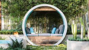 Small Picture Modern Garden With Bamboo Plants And Seating Elegant And Airy