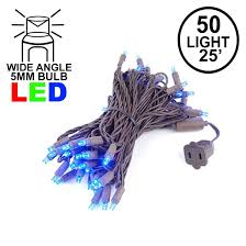 Blue Wide Angle Led Christmas Lights Commercial Grade Wide Angle 50 Led Blue 25 Long On Brown Wire