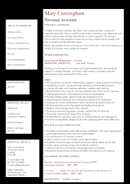 Personal Assistant Resume Templates At