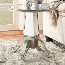 silver glass accent table