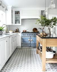patterned tile floors white kitchen french blue stove patterned tile floor