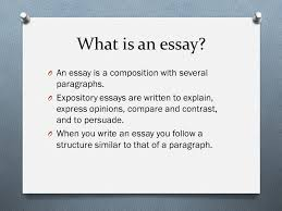 essay all there is to know about essays what is an essay o  what is an essay o an essay is a composition several paragraphs