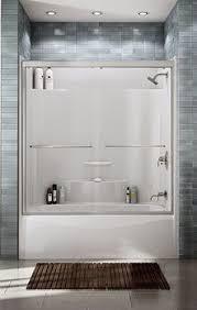 Love The Tile Above The Tub  Bathroom  Pinterest  Tubs Bath One Piece Fiberglass Tub Shower Combo