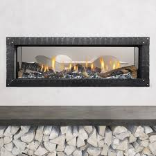 heat glo mezzo 60 see through gas fireplace with clean quattro front