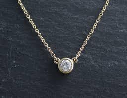 14k yellow gold diamond pendant necklace 29 round diamond bezel set necklace solitaire necklace ready to ship theresa pytell jewelry design