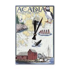 Walmart Time Clock Chart Acadia National Park Maine Nautical Chart Lantern Press Artwork Acrylic Wall Clock