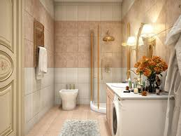 classic elegant small bathrooms decor ideas with brown ceramic wall also corner shower enclosure and oval gold frame wall mirror plus cone wall lamps