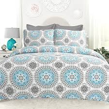 Aqua Quilts: Amazon.com & DriftAway 3 Piece Bella Reversible Quilt Set/ Bedspreads, Coverlets,  Repeated Medallion/Floral Pattern, 100% Cotton Cover, Pre-washed, Aqua  /Gray ... Adamdwight.com