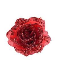 Glitzernde Deko Rose Mit Clip Rot
