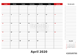 April 2020 Monthly Desk Pad Calendar Week Starts From Sunday