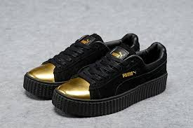 puma shoes rihanna gold. men\u0027s/women\u0027s puma by rihanna suede creepers shoes black gold n