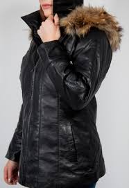 womens fur genuine leather coat red black