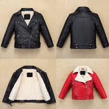 cool kids boys leather jacket warm fllece coat biker high quality fur outerwear