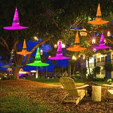Outdoor Halloween Lights Algimo Halloween Decorations Outdoor 8pcs Hanging Lighted Glowing Witch Hat Decorations 36ft Halloween Lights String
