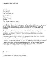 Cover Letter For College Professor 11 Instructor Sample
